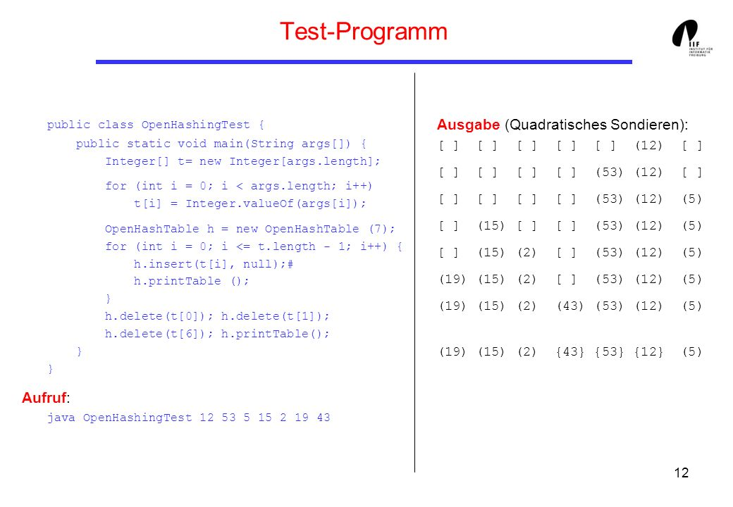 Test-Programm public class OpenHashingTest { public static void main(String args[]) { Integer[] t= new Integer[args.length];